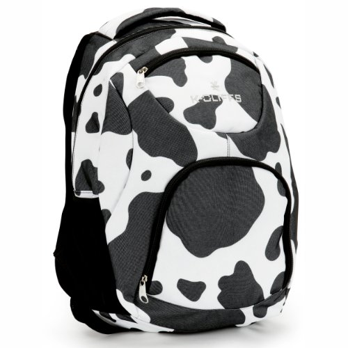 17 Inch Gray White Cow Pattern Kid'S Daypack Bookbag College Student School Bag front-1049056