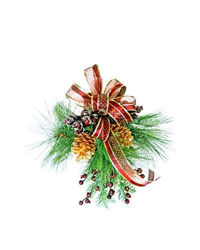Creative Displays Pine And Berry Holiday Swag With Burgundy Ribbon Set Of 3, Burgundy/Gold/Green