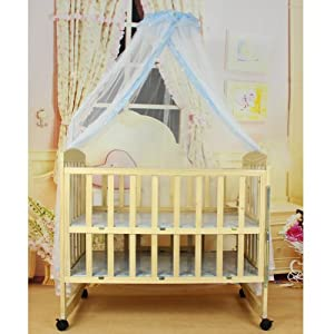 Nsstar Baby Mosquito Net Baby Toddler Bed Crib Canopy Netting,Blue Yellow White Available (Blue(1.6M*4.2M))