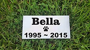 "Personalised Pet Stone Memorial Marker White Marble Name Marker Dog Cat Horse Bird Human 3"" X 6"" Custom Design Personalized Dachshund Shih Tzu Pomeranian"