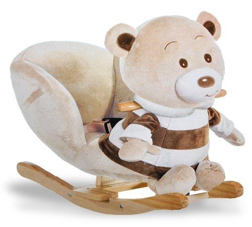 XL Plüsch und Holz Schaukelpferd - Teddybär