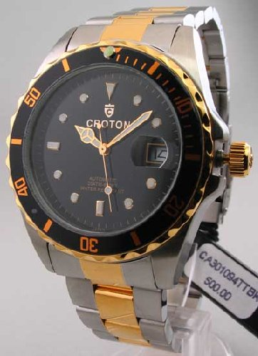 Croton CA301094TTBK Men's Automatic Two Tone Black Dial Watch
