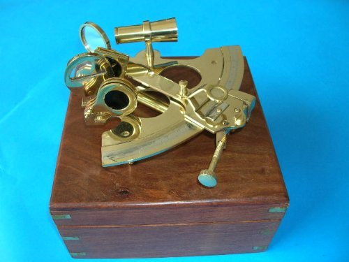 """Sextant 9"""" W/ Box Fully Assembled Nautical Decorative Gift Wooden Home Nautical Decor Not A Model Kit"""