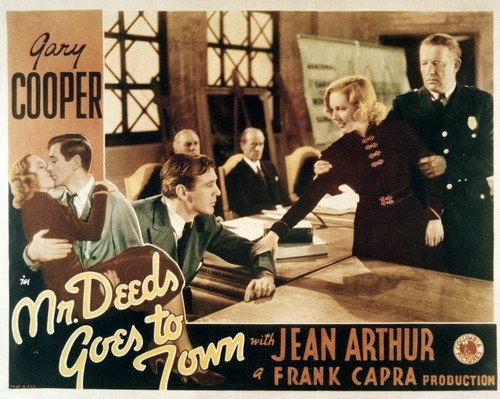 Gary Cooper And Jean Arthur In Mr. Deeds Goes To Town Court Room Scene 11X14 Lobby Card Reproduction