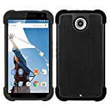 CUBIX [Football Series] Dual Layer Hybrid Shock Proof Case Cover With Air Cushion For Google Nexus 6 (Black)