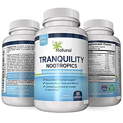 Premium Tranquility Anti Anxiety & Anti Stress Formula. Nootropics Brain Function Booster to Ease Stress and Reduce Anxiety - Improved Mood and Better Mental Clarity and Focus. 60 Capsules per Bottle