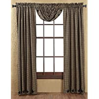 Country Style Black Check Applique Star Balloon Valance Lined 60x15