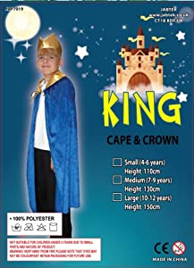 King Costume: Blue Cape and Crown : Nativity Kids age 7 - 9 yrs