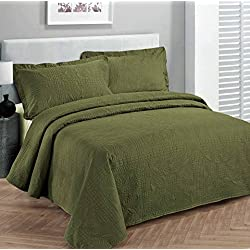 """Fancy Collection 3pc Luxury Bedspread Coverlet Embossed Bed Cover Solid Olive Green New Over Size King/california King 118""""x 106"""""""