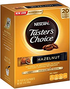 Nescafe Tasters Choice Hazelnut Instant Coffee, 0.07oz.Count Single Serve Sticks, 20 Count (Count of 8)