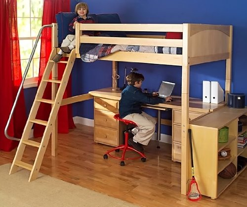 4 pc Kid's Full Size Loft Bed Set w Desk and