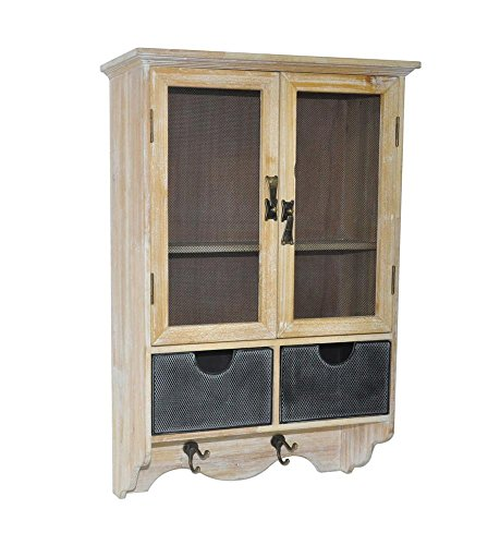 Cheungs Home Decor Indoor Accent Storage Decroative Shabby White Wooden Wall Cabinet With 2 Doors, 1 Shelf, 2 Drawers And 2 Hooks