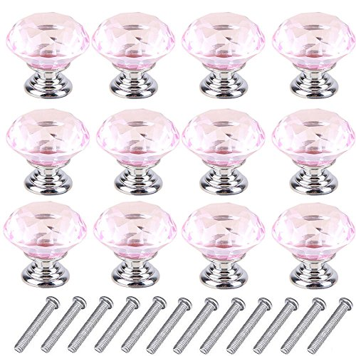 12pcs 30mm Glass Clear Cabinet Knob Drawer Pull Handle Kitchen Door Wardrobe Hardware Used for Cabinet, Drawer, Chest, Bin, Dresser, Cupboard, Etc (Pink-Silver) (Dressers With Glass Doors compare prices)