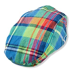 TitFus Infant newsboy ivy duckbill kid Irish cap hat houndstooth herringbone neon plaids (6-12Months, Neon Blue Multi)