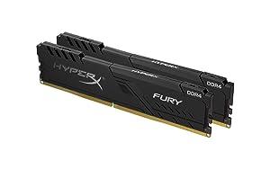 HyperX Fury 16GB 2400MHz DDR4 CL15 DIMM (Kit of 2) 1Rx8 Black XMP Desktop Memory HX424C15FB3K2/16 (Tamaño: 16GB kit (2 x 8GB))
