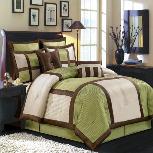 Morgan Sage California King Size Luxury 12 Piece Comforter Set Includes Comforter, Sheets, Skirt, Throw Pillows, Pillow Shams By Royal Hotel front-953915