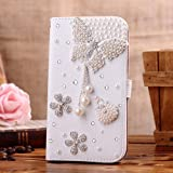 3D (26# Pearl Butterfly Flower) Bling Crystal Diamond Rhinestone Flip PU Leather ID Card Holder Holster Wallet Case Stand Cover for Samsung Galaxy S3 Mini i8190 + 1*Screen Protector for Samsung Galaxy S3 Mini i8190