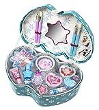"""Süßer doppelherzförmiger Schminkkoffer im """"Disney die Eiskönigin Design! Der Koffer enthält verschiedene Lipgloss, Lidschatten, Lippenstift, Nagellack, Ringe und ein schönes Perlenarmband. Damit steht Deinem frostig schönen Look nichts mehr i..."""