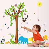 UberLyfe Tree With Animals, Birds, Butterfly Wall Sticker (Wall Covering Area: 104cm X 105cm) - WS-001351