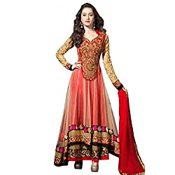 RajLaxmi Women's Fashion Orange Georgette Dress Material