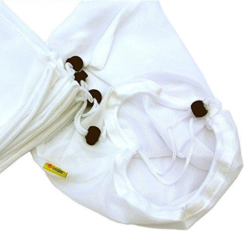Snugbe Lot de 5grands sacs en maille filet à linge réutilisable Lavage ou Filets de rangement alimentaire, blanc