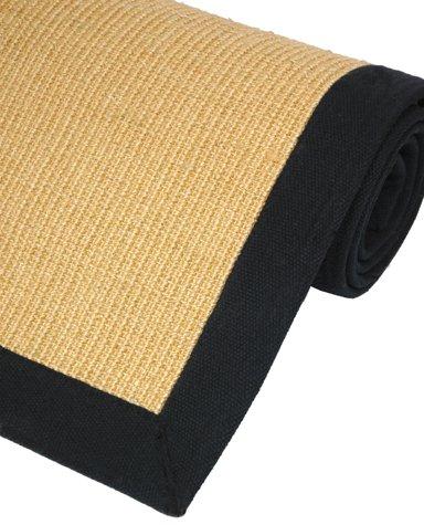 "Best Discount Price Carpet - Honey Color Sisal Area Rug w/ Black Cotton Edge & Latex Back - 48"" x 72"""