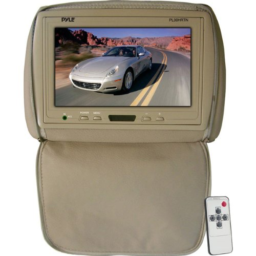 Pyle PL90HRTN Adjustable Headrest/ Built-In 9-Inch TFT-LCD Monitor with IR Transmitter (Tan)