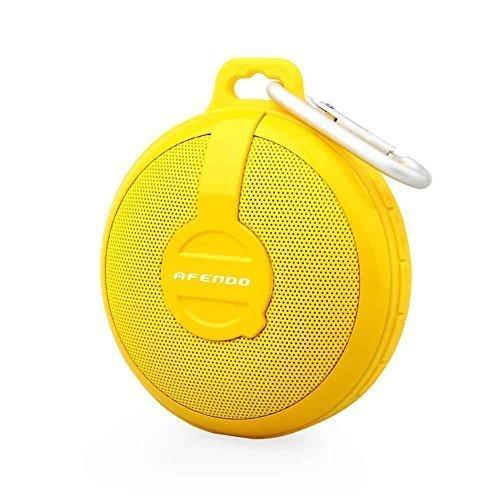 AFENDO BV210 防水Bluetooth ワイヤレススピーカー コンパクトなサイズ  iPhnoe6、6plus/ iPhone5、5s、5c/iPhnoe4、4s/Android/各種スマホ/ iPod / iPad などのタブレットに対応 防水ブルートゥース スピーカー つり掛けフック付き 18ヶ月保証期間イエロー
