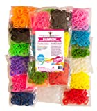 2400pc Rainbow Braid Rubber Bands ★ Creativity Loom Band Refill Set ★ 12 Colors with 150 Clips ★ Make Rubber Band Bracelets ★ Fully Compatible with All Rubber Band Looms ★ 200 Each of 12 Different Colors ★ Solid/Neons (Red, Orange, Light Green, Green, Light Blue, Purple, Rose, Pink), Glow in the Dark (Yellow) and Bolds (Black, White) ★ 365 Day 100% Money Back Guarantee