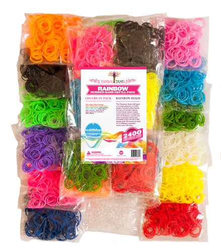 Sale!! 2400pc Rainbow Braid Rubber Bands ★ Creativity Loom Band Refill Set ★ 12 Colors with 150 ...