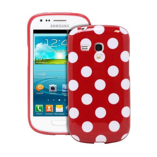 Fosmon Dura Series Polka Dot Flex Tpu Case For Samsung Galaxy S3 Iii Mini / Gt-I8190 - Red