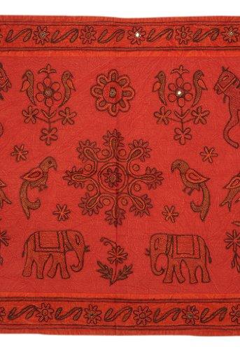 Imagen 1 de Caballo indio Elefante bordado y aves Tapiz Cuadro colgante de pared Throw Fabricado por Cotton Size Tela 35 X 22 pulgadas
