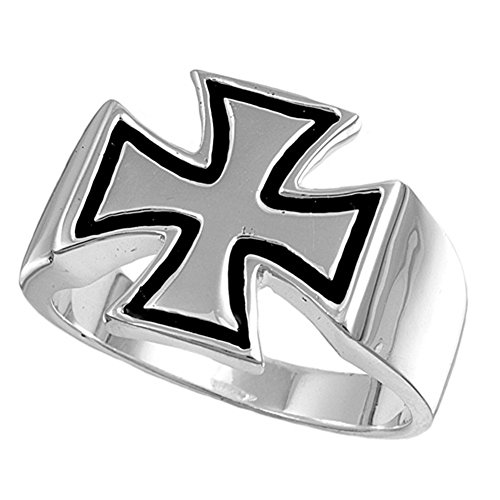 Sterling Silver Woman'S Men'S Iron Cross Ring Unique Comfort Fit 925 Band 15Mm Size 8 front-584230
