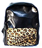 BLACK PU Pleather Studded Backpack School Bag Leopard Print Front Pocket! Super COOL!