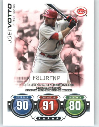 2010 Topps ToppsTown / Attax Code Card #26 Joey Votto - Cincinnati Reds (NNO / Attax Topps Town Series 2)(Baseball Cards)