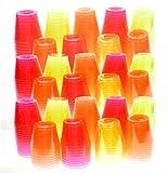 Green Direct Plastic Elegant Tumbler 1 oz Shot Glasses, Mixed Neon Colors, 100 Pcs