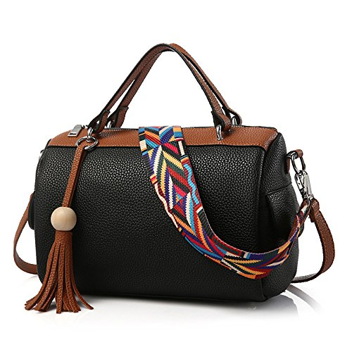 koson-man-womens-fashionable-cute-elegance-texture-pu-leather-waterproof-handbags-shoulder-bagsblack
