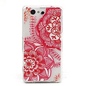 GENERIC Red Flower Mandala Pattern Relief TPU Soft Back Cover for Sony Z3Mini #02983939