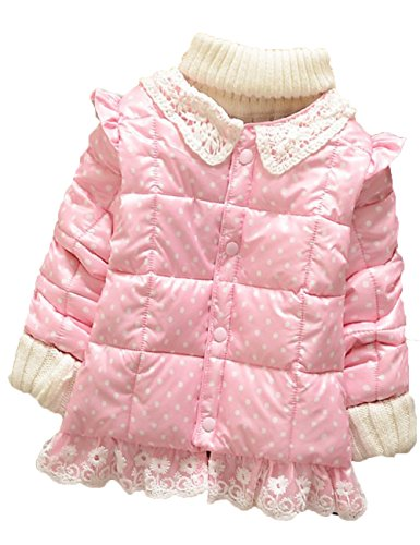 Baby Girls Small Dot Lace Snowsuit Kids Winter Coats Outdoor Warm Jackets (Xl(3-4Years), Pink) front-30943