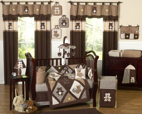 Chocolate Brown Teddy Bear Baby Boys Bedding 9pc Crib Set by Sweet Jojo Designs