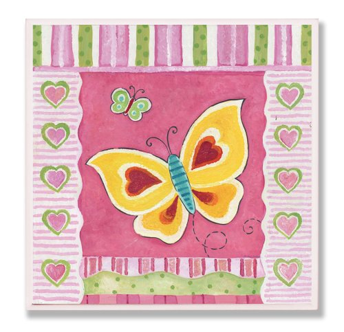 The Kids Room by Stupell Yellow and Red Butterfly with Stripes Square Wall Plaque