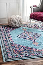 Traditional Vintage Eternal Palmette Knot Medallion Blue Area Rugs, (4\' x 6\')