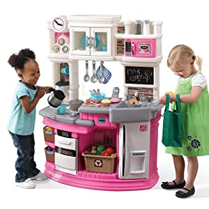 Step2 lil 39 chef 39 s gourmet kitchen pink toys for Kids kitchenette set