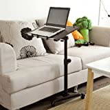 SoBuy Nursing Home Auto-Touch Overbed Table, Bed Table, Laptop Table, Sofa Side Table, FBT07N-BR