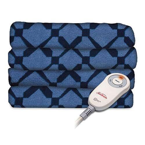 Sunbeam Microplush Electric Heated Throw Blanket Filmore Diamond / Royal Blue