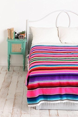 x-large-authentic-mexican-serape-saltillo-blanket-bed-cover-yoga-mat-by-kayso