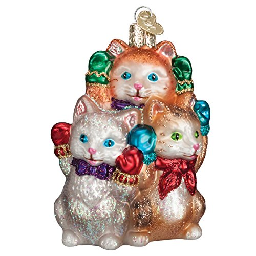 Old World Christmas Three Little Kittens Glass Blown Ornament (Old Time Santa)