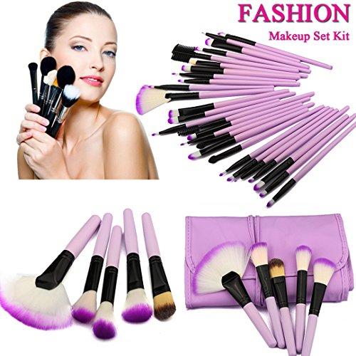 iDealhere 32pcs Professionnel Cosmétiques Fard à Paupières poudre Maquillage Pinceau Outils Set + Sac (violet)