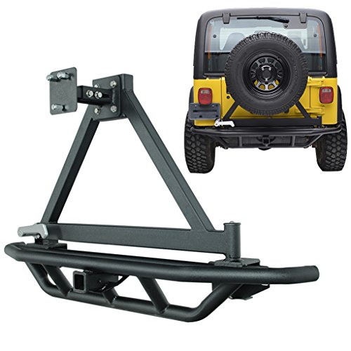 E-Autogrilles TJ YJ Jeep Wrangler Tubular Rear Bumper with Tire Carrier and 2 inch Hitch Receiver