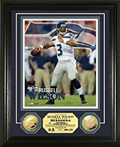 NFL Seattle Seahawks Russell Wilson Gold Coin Photo Mint by Highland Mint